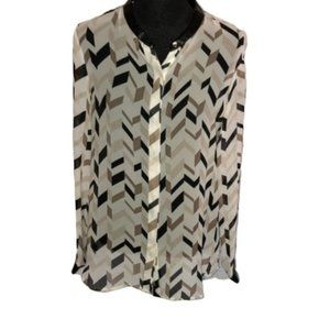 DKNYC Long Sleeve Buttond-Down  Blouse